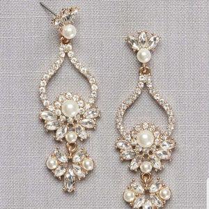 NWT - Pearl & Crystal Floral Teardrop Earrings